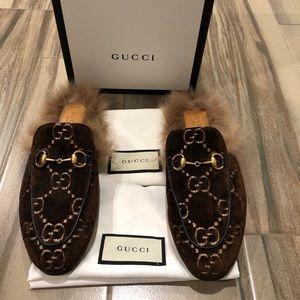 Like New Gucci Princeton Velvet & Fur Slides